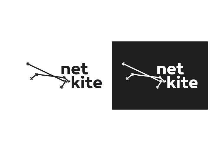 Net Kite schede web marchio B/N
